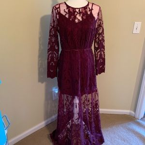 Free People lace dress wine color size M NWT